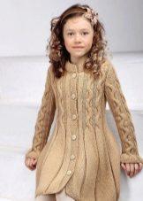вязаное пальто для девочки 58 фото белое с капюшоном розовое