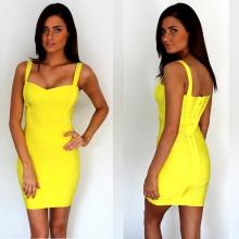 Бандажное платье (60 фото): что это такое, бежевое, черное, желтое, с пышной юбкой, синее