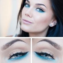 Макияж серо-голубые глаза под голубое платье