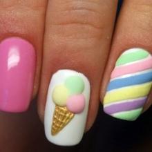 Маникюр с мороженым (24 фото): дизайн с мороженкой и пироженками, ногти с пирожным и другими десертами, идеи и пошаговое руководство
