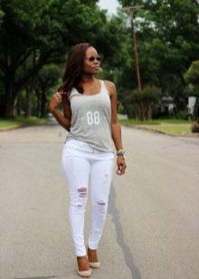 Сексуальные белые джинсы