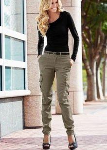 Купить брюки цвета хаки женские