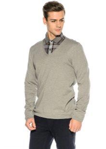 776e1d412e1c6 Мужской пуловер (68 фото): вязаные, с V-образным вырезом, белый, что ...