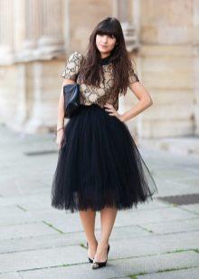 Образы черная юбка пачка