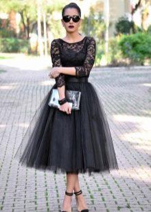Юбка черная сетка с цветами