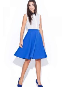 Синяя юбка солнце клеш