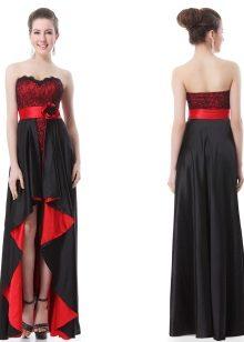 48407162e96 Дизайнеры покрывают алые платья кружевом и тонкой черной сеточкой из фатина  и дополняют широким черным поясом. Модели с черным фоном украшают двойным  ...