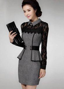 197fbdedcd6 Для зимних офисных платьев используют шерсть или твид. Летние варианты шьют  из смешанных тканей с хлопком