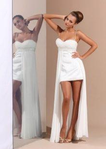Короткое платье белое со шлейфом
