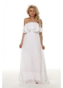 Белое длинное платье с поясом