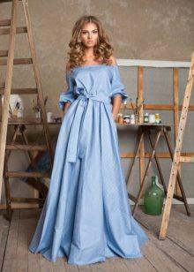 Платье макси с завышенной талией