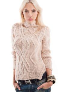 вязаный женский свитер 121 фото 2019 крупной вязки модели