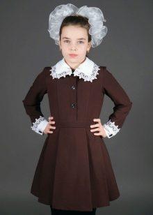 Коричневые школьные платье фото