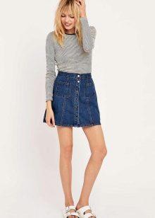Юбки джинсовые с материалом