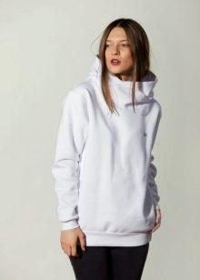 5dcc85b2 Белые модели - это нарядный повседневный вариант женской толстовки с  капюшоном. Белая толстовка выглядит женственно и в какой-то степени  празднично.