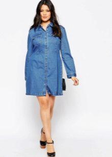 721716cae36 Джинсовое платье с корсетом поможет утянуть фигуру и придать дополнительную  тонкость вашей талии.