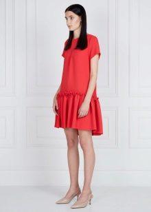 Платье с рюшами короткое
