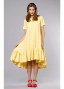 Широкое платье с оборкой внизу
