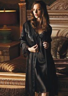 Шелковый красивый сексуальный кружевной халат большого размера