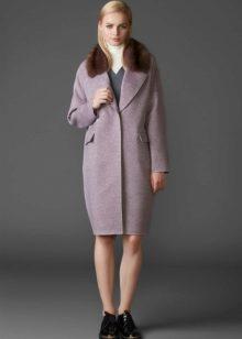e2415484641 Зимнее пальто с меховым воротником 2019 (101 фото)  кожаное