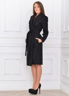 Черное пальто женское с ремнем черный кожаный ремень