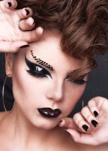 Макияж в стиле; рок: make-up глэм-рок для девушки-рокерши, на рокерский концерт, на фотосессию