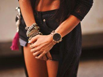Широкие браслеты: женская массивная бижутерия на руку, несколько очень толстых цепочек