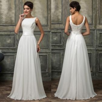 Белое платье в пол (длинное) (120 фото): летнее, шифоновое, с рукавами, красивое, черно-белое, с красными цветами