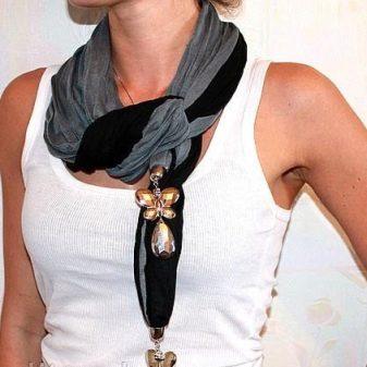 Шарф-колье (32 фото): как ностиь шарф-колье с бусами