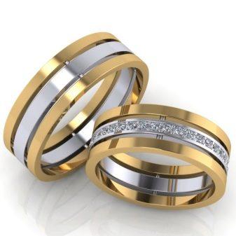 Двойные обручальные кольца (40 фото): женское помолвочное и свадебное на один палец