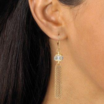 Серьги Золотые цепочки (30 фото): сережки в виде цепочек - модный аксессуар без замка