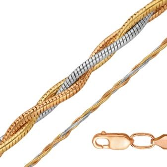 Цепочка из комбинированного золота (35 фото): женские украшения 750 пробы из желтого и красного золота