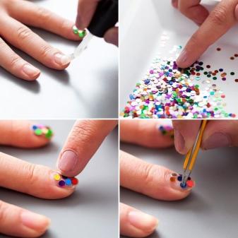 Маникюр с конфетти (18 фото): как наносить на гель-лак для ногтей