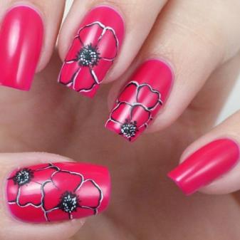 Маникюр с маками (18 фото): идеи дизайна, наклейки на ногти