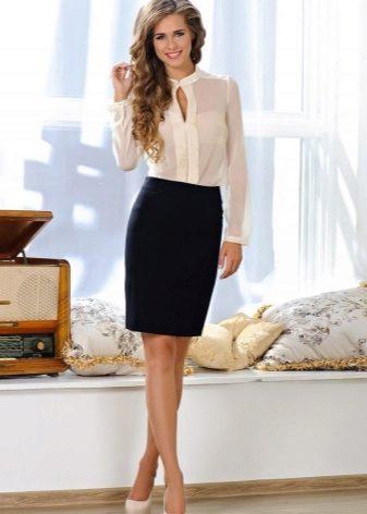 чёрная юбка и белая блузка фото