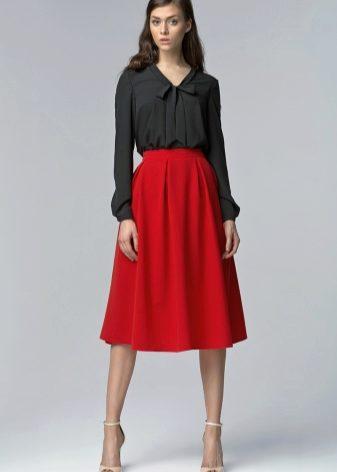 Блузы к широким юбками