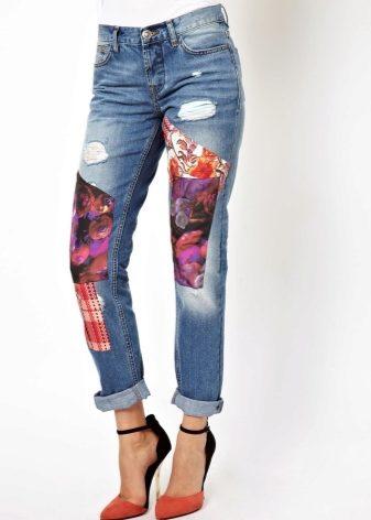 Аппликация на джинсах своими руками