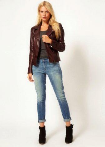 9e58561add3 Кожаные женские пиджаки (36 фото)  модели с кожаными рукавами