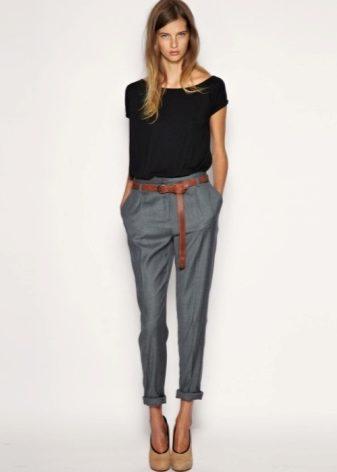 1b32cdddf574 Серые женские брюки (59 фото): с чем носить, какой стиль подходящий ...