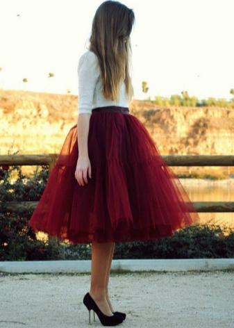 Черно-красная юбка из фатина