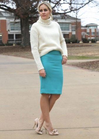 Образ с бирюзовой юбкой