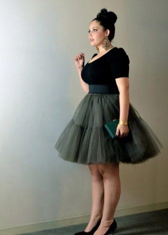 Фатиновая юбка на полных девушках