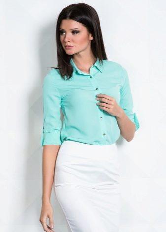 edd3b6105a6 Женская рубашка с коротким рукавом (78 фото)  с пиджаком