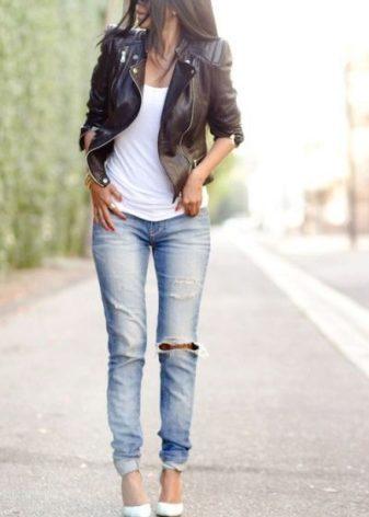 джинсы и белая майка фото