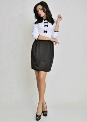dec5ad3b5b6 Черно-белое платье (159 фото)  белый верх черный низ