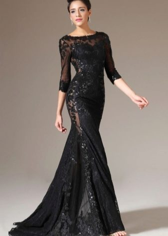 Черные платья с кружевом