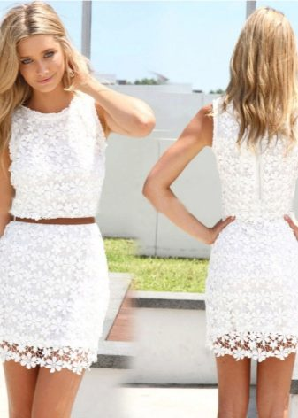 Платье белое кружевное летнее платье