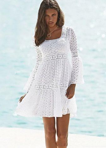 Кружевное белое летнее платье купить