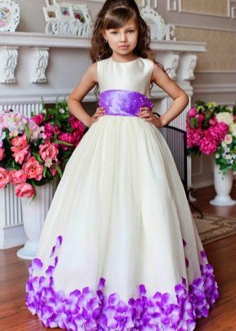 Платье для девочки голубое с розовым