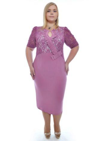 Сиреневый гипюр платье